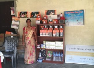 Runa Jha, in her solar shop in Janakpur, eastern Nepal (Photo: Lucy EJ Woods)