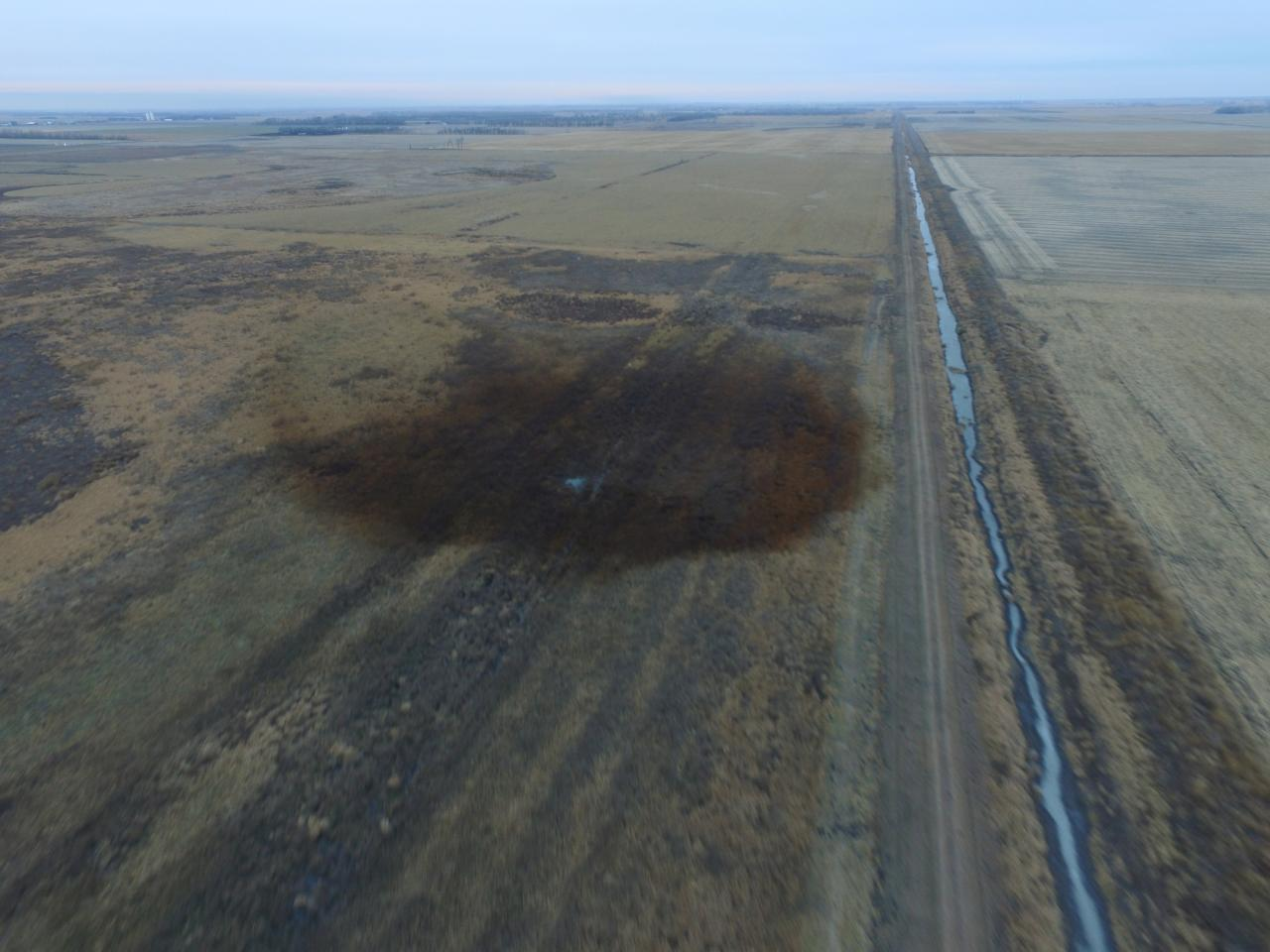 Aerial view of keystone pipeline spill