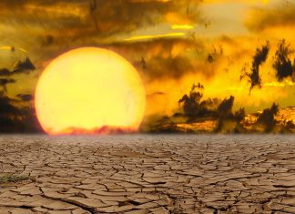 Picture of barren desert landscape with the sun
