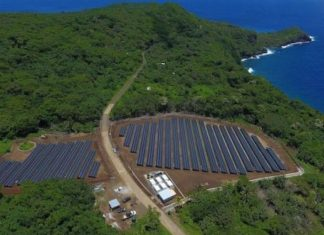 Aerial view of solar farm in Puerto Rico
